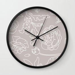 Peony Print (Gray) Wall Clock