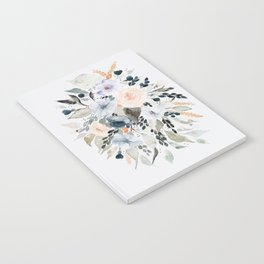 Loose Blue and Peach Floral Watercolor Bouquet  Notebook