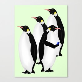 Penguin On A Mobile Device Canvas Print