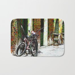 Two Bicycles In the Alley Bath Mat