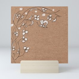 Floral pattern with butterfly Mini Art Print