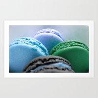 macaroons Art Prints featuring MACAROONS Blue Aqua Turquoise by Whimsy Romance & Fun
