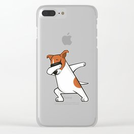 Dabbing Jack Russell Dog. Funny, cool dancing puppy. Dab dance. Cartoon dog. Clear iPhone Case