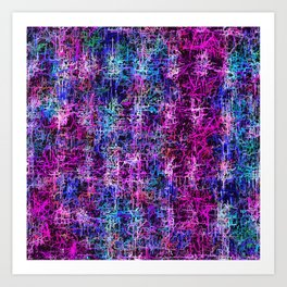 psychedelic abstract art pattern texture background in pink blue black Art Print