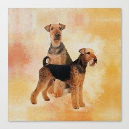 Airedale Terriers Digital Art Canvas Print