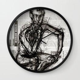 Instinctive - Charcoal on Newspaper Figure Drawing Wall Clock