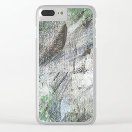 Gray green abstract Clear iPhone Case