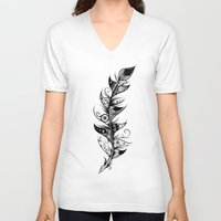 feather V-neck T-shirts featuring Feather by LouJah