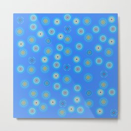 Spots and Dots on Blue Metal Print