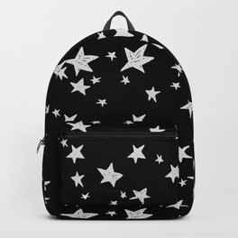 Linocut black and white stars outer space astronauts minimal Backpack