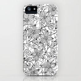 Modern black white hand drawn floral iPhone Case