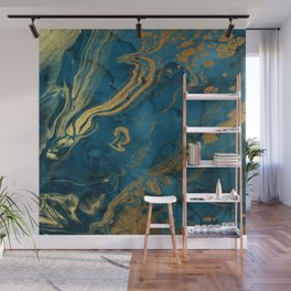 Fire & Ice Blue and gold marbling swirls Wall Mural
