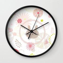 Floral Bunny Face Wall Clock