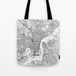 Philadelphia White Map Tote Bag