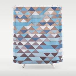 Triangle Pattern No.6 Crisp Blue Shower Curtain