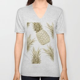 Gold Pineapple Bling Unisex V-Neck