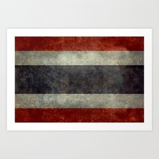The National flag of Thailand, (formerly known as Siam) To scale Vintage version Art Print
