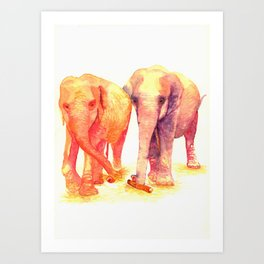 A couple of elephants Art Print