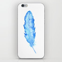 Watercolor abstract blue feather iPhone Skin