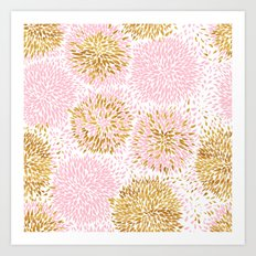 Pink and Gold Watercolor Floral Art Print