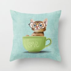 Kitten with glasses Throw Pillow