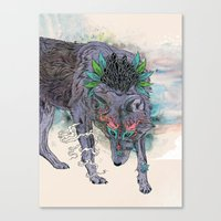 Canvas Prints featuring Journeying Spirit (wolf) by Mat Miller