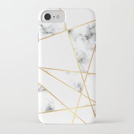 Stone Effects White and Gray Marble with Gold Accents iPhone Case