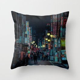 Tokyo Nights / Kabukicho Nights / Liam Wong Throw Pillow
