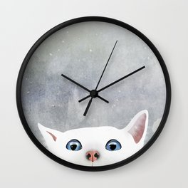 Curious White Cat Wall Clock