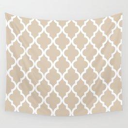 Moroccan Quatrefoil Pattern: Beige Wall Tapestry