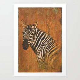 Zebra painting acrylic and iron oxide on canvas large painting Art Print