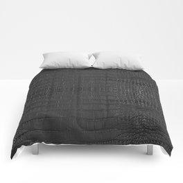 Alligator Black Leather Comforters