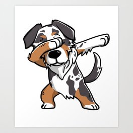 Funny Dabbing Australian Shepherd Dog Dab Dance Art Print