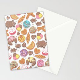 Mexican Sweet Bakery Frenzy // white background // pastel colors pan dulce Stationery Cards