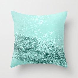 Summer Vibes Glitter #7 #mint #shiny #decor #art #society6 Throw Pillow