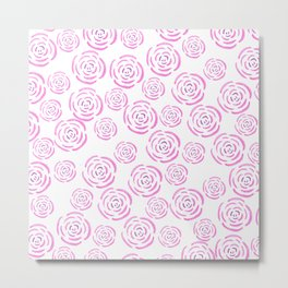 Abstract pink white hand drawn roses pattern Metal Print