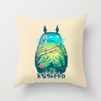 geek Throw Pillows featuring He Is My Neighbor by Victor Vercesi