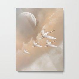 Flying Swans Metal Print