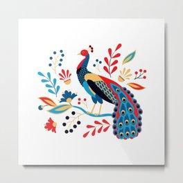 Folk Peacock Bright Metal Print