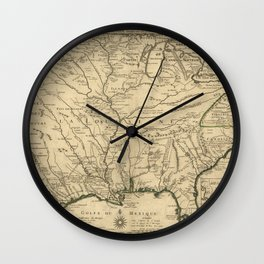 Map of America from Rio Grande River to Hudson River (1718) Wall Clock