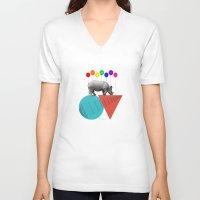 rhino V-neck T-shirts featuring Rhino by mark ashkenazi