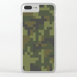 Green Pixel Woodland Camo pattern Clear iPhone Case