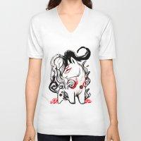 okami V-neck T-shirts featuring Chibi Amaterasu Okami I by Rubis Firenos