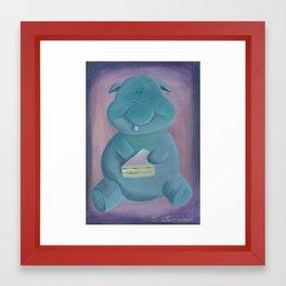 Happy Hippo likes cake Framed Art Print