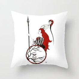 The Lady Athena, Goddess of Wisdom and War Throw Pillow