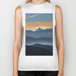 """Misty mountains"". Sunset at the mountains Biker Tank"