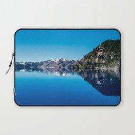 Blue Lake Sky // Rocky Evergreen Mountain and Snowcap Sierra Range Reflection Laptop Sleeve
