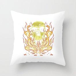 Skull Fire  Throw Pillow
