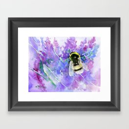 Bumblebee and Lavender Flowers Herbal Bee Honey Purple Floral design Framed Art Print