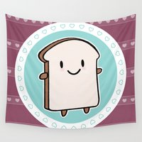 bread Wall Tapestries featuring Happy Bread Slice by Marceline Smith